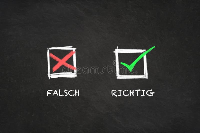 """""""Falsch - Richtig """"με τα εικονίδια σε έναν πίνακα Μετάφραση: """"Λανθασμένος - διορθώστε """" ελεύθερη απεικόνιση δικαιώματος"""