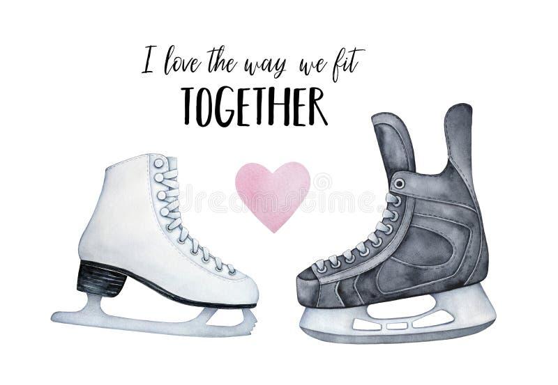 """""""J'aime la manière que nous adaptons ensemble """"la carte romantique illustration libre de droits"""