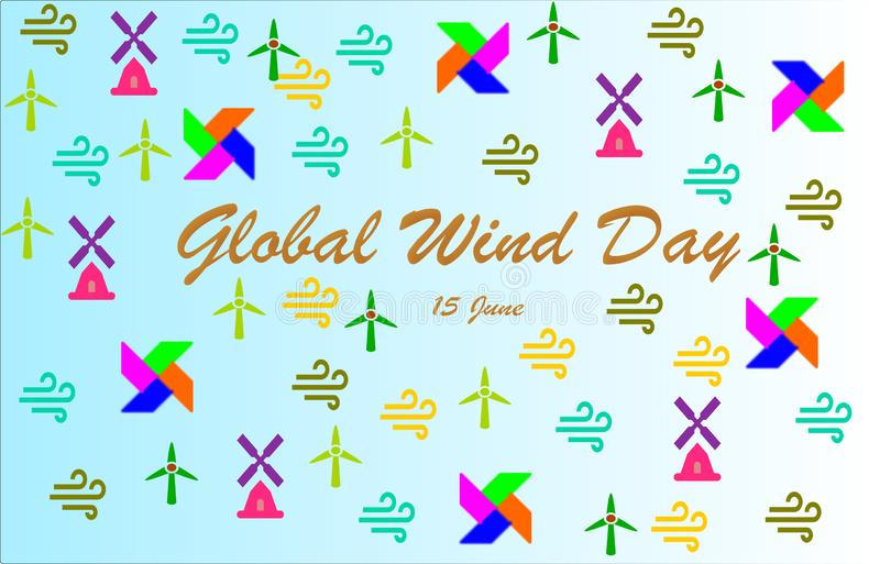 """""""Jour global de vent """"marquant avec des lettres avec les moulins à vent colorés, icônes de vent, soleils illustration stock"""