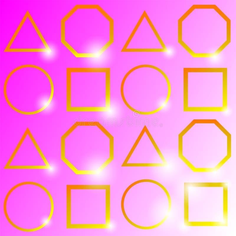 """""""La geometria dorata brillante, su fondo rosa, illustrazione di vettore ` illustrazione di stock"""
