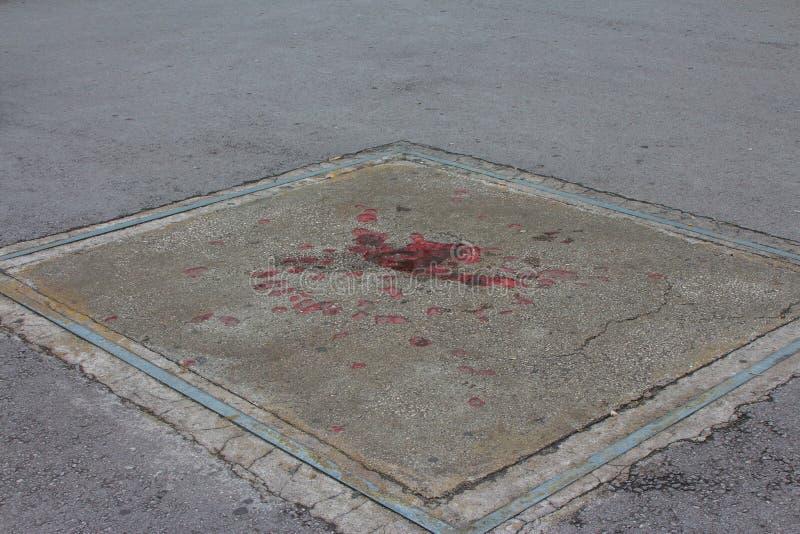 """""""La Rosa di Sarajevo """"è un profondo posto lasciato tramite il bombardamento dopo la guerra dei Balcani La Bosnia-Erzegovina fotografia stock libera da diritti"""
