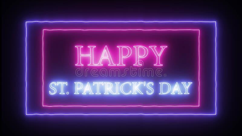 """""""Le jour de St Patrick heureux """"d'enseigne au néon illustration stock"""