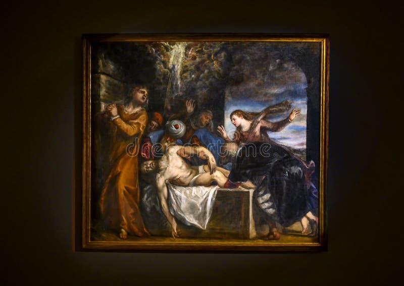 """""""Le placement du Christ dans la tombe """"par Tiziano Vecellio dans le Pinacota Ambrosiana, la galerie d'art Ambrosian à Milan, Ital photographie stock"""