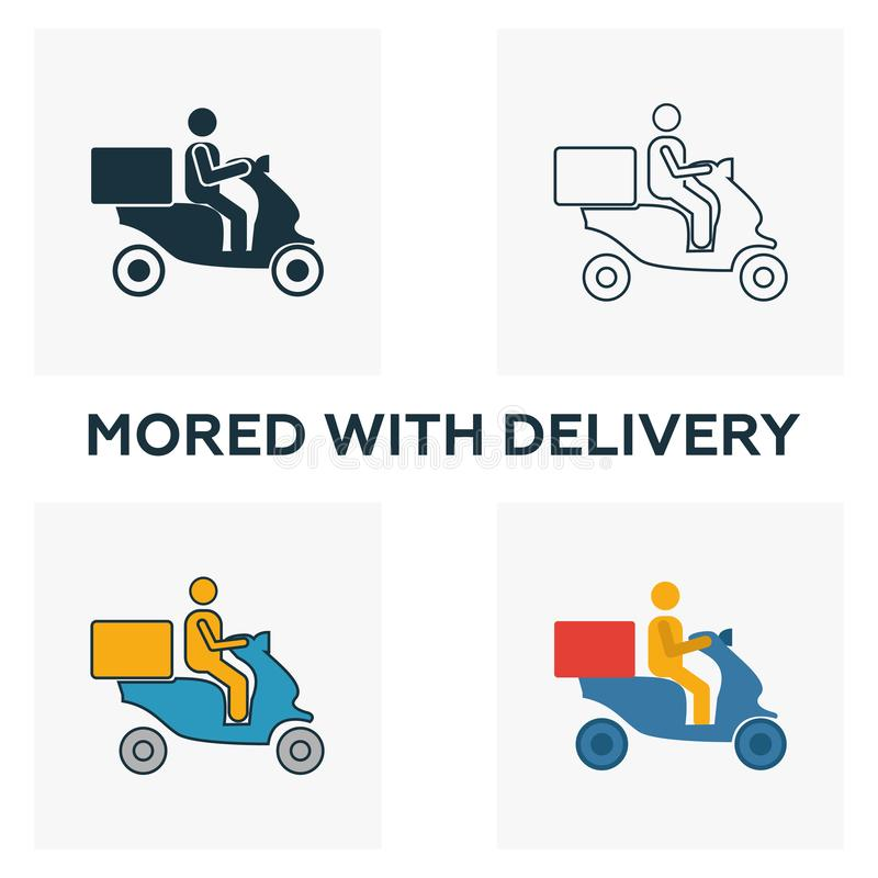 """""""Moped Food Delivery(移动食品递送)""""图标集 从快餐图标集合中看四种不同样式的元素 Creative moped food delivery icons 向量例证"""