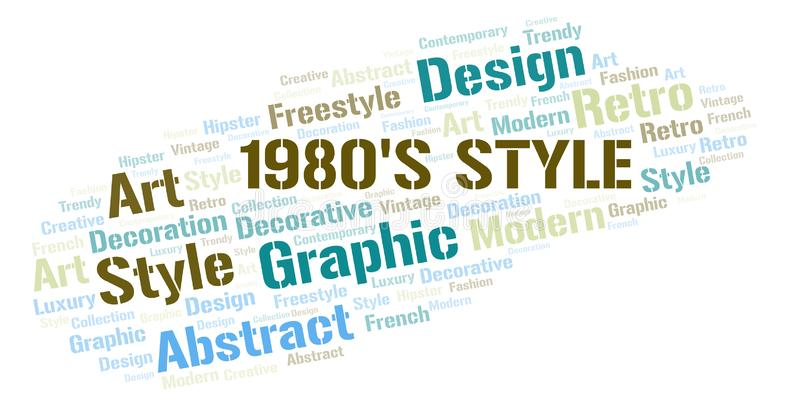 "1980 \ ""nuage de mot de style de s illustration stock"
