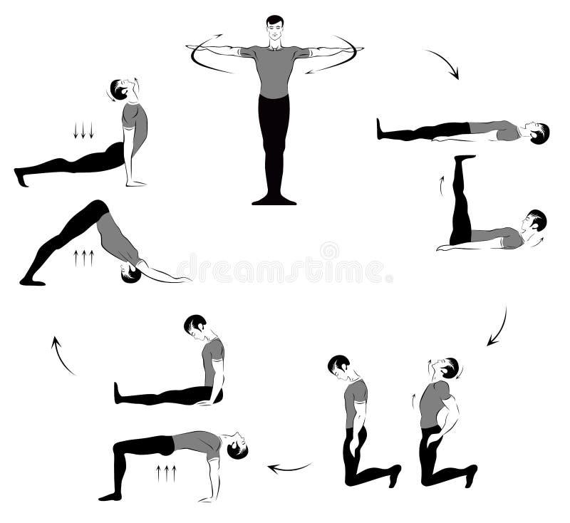 """""""occhio della rinascita """": metta di cinque esercizi illustrazione vettoriale"""