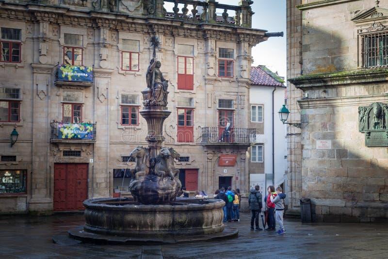 """""""PraterÃas de Praza DAS """"attachés au côté sud de la cathédrale en Santiago de Compostela, Espagne photos stock"""