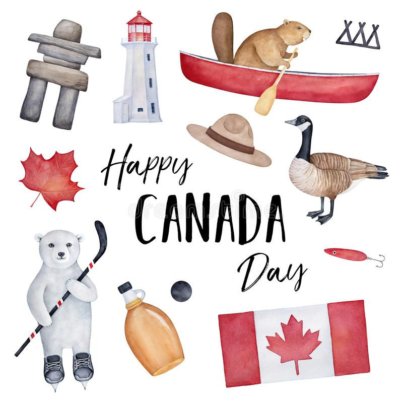 """""""Progettazione della cartolina d'auguri di giorno felice del Canada """"con la bandiera nazionale, i vari elementi del paese ed i ca illustrazione di stock"""