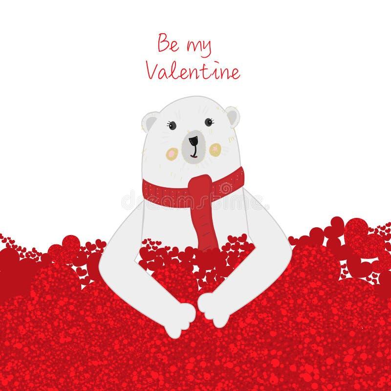 """""""Soyez texte de mon Valentine """"et ours blanc tenant le coeur rouge brillant Carte de voeux heureuse de jour du `s de valentine illustration de vecteur"""