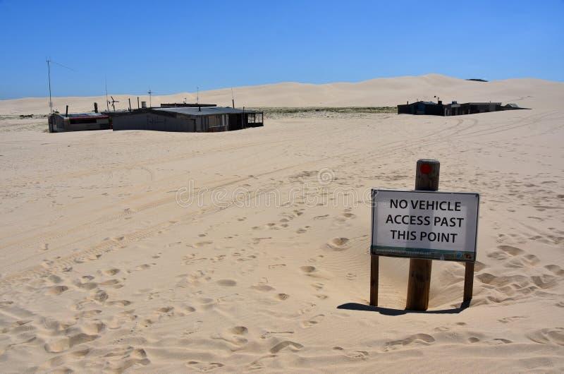 """""""Tin City """"sur la plage de Stockton photographie stock libre de droits"""
