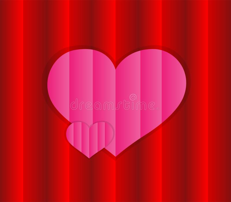 """""""Vettore di amore di progettazione con il rosa e le strutture rosse Cuore rosa con una superficie su un fondo di superficie rosso illustrazione di stock"""