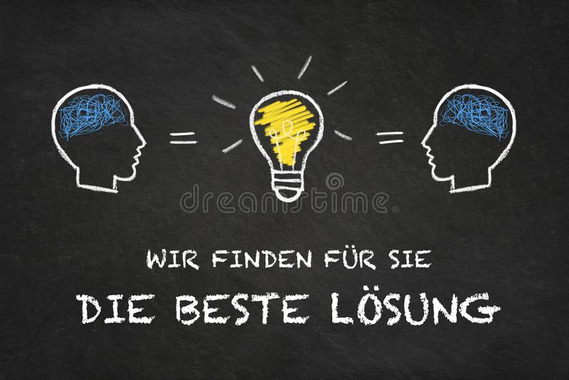 """""""Wir finden il für Sie muore beste Lösung """", teste e lampadina di idea con il fondo del bordo di gesso Traduzione: """"Troviamo per  illustrazione vettoriale"""