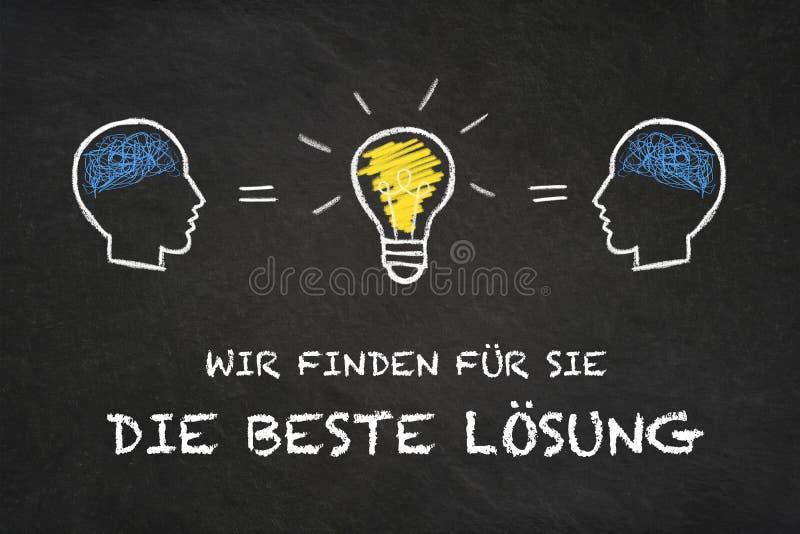 """""""Wir finden le für Sie meurent beste Lösung """", têtes et ampoule d'idée avec le fond de panneau de craie Traduction : """"Nous trouvo illustration de vecteur"""