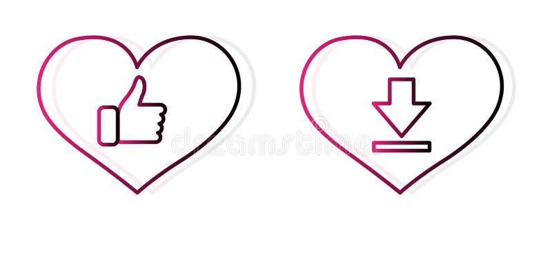 """""""значок любов плана План кнопки, значок сердца, вектор, большие пальцы руки вверх и загрузить графический дизайн в концепции любо иллюстрация вектора"""