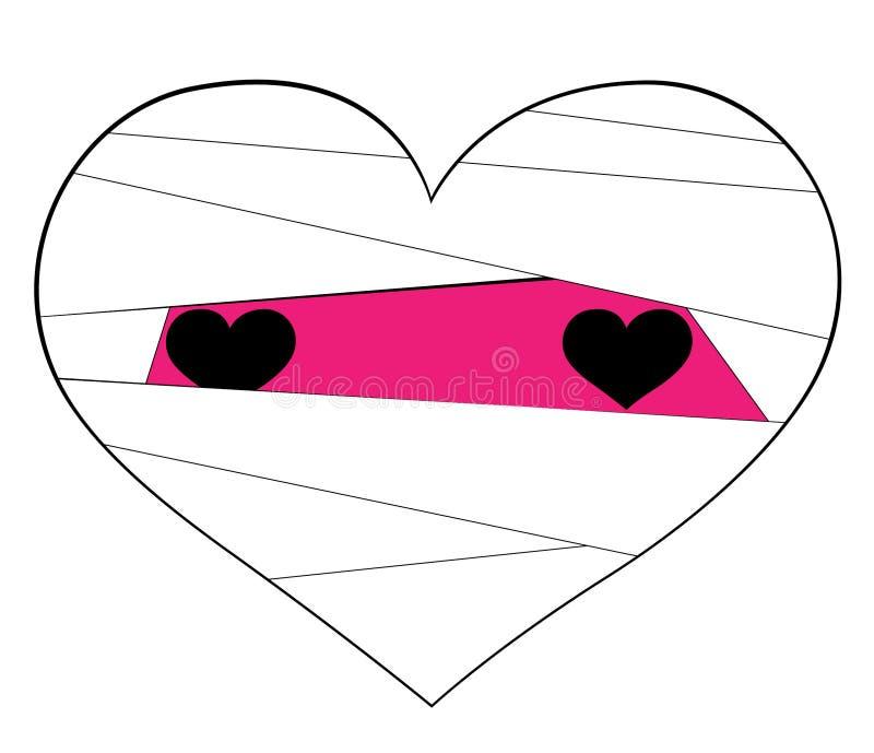 """""""Розовый значок сердца в оболочке в белизне как мумия Символы любов на белой предпосылке для фестивалей хеллоуина и дня Валентайн иллюстрация вектора"""