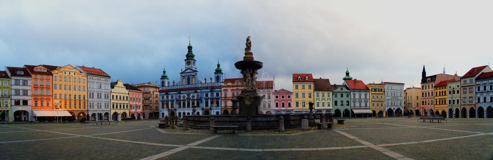 """Ceske Budejovice"" square extra wide panorama in the Czech Republic. ""Ceske Budejovice"" square extra wide panorama in the Czech Republic, South royalty free stock photos"