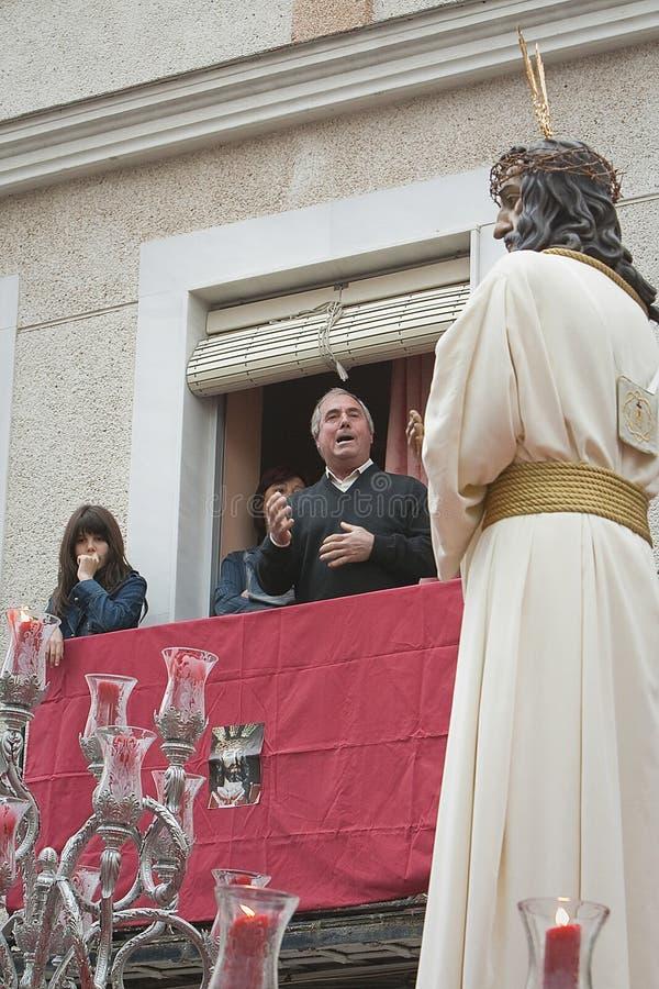 """""""Saetero die"""" aan broederschap Gr Rescate tijdens optocht Heilige Donderdag zingen, Linares, Andalusia stock foto's"""