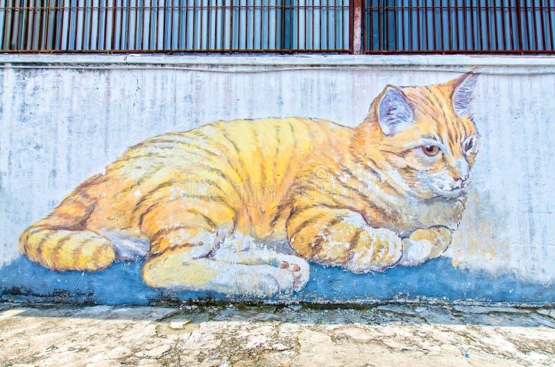 """""""Skippy de kunst, van de de Reuzekatten"""" straat door lokale kunstenaar die in Georgetown, Penang wordt gevestigd stock afbeelding"""
