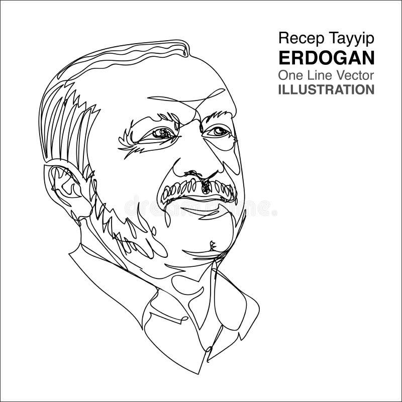 † För Turkiet president Recep Tayyip ErdogÌ, en linje teckning stock illustrationer