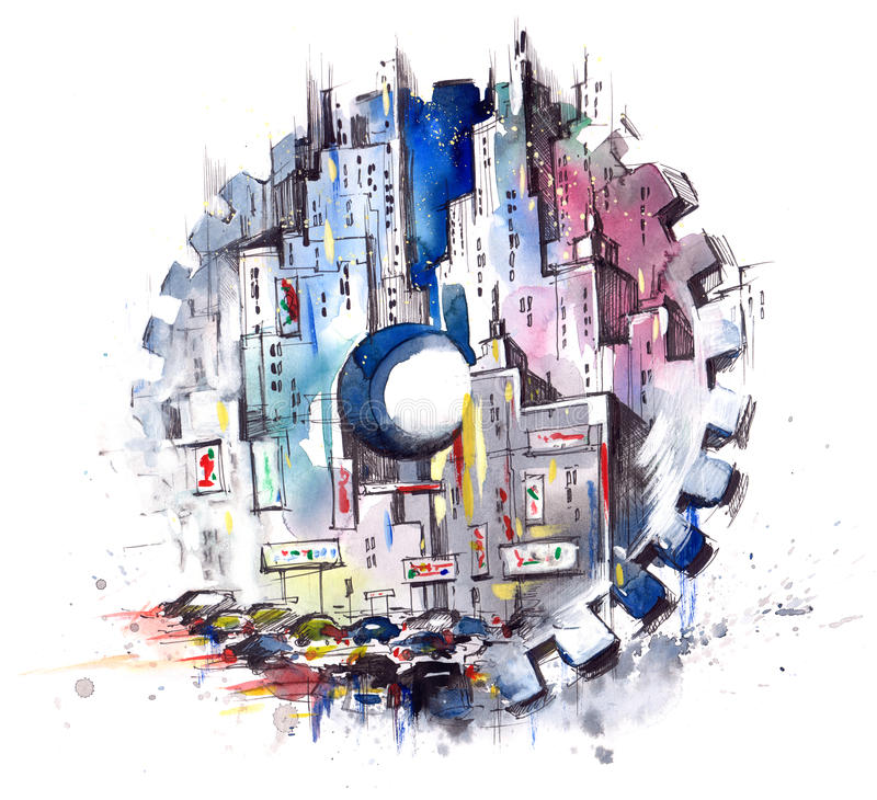 ‹Del †del ‹del †della città nel moto royalty illustrazione gratis
