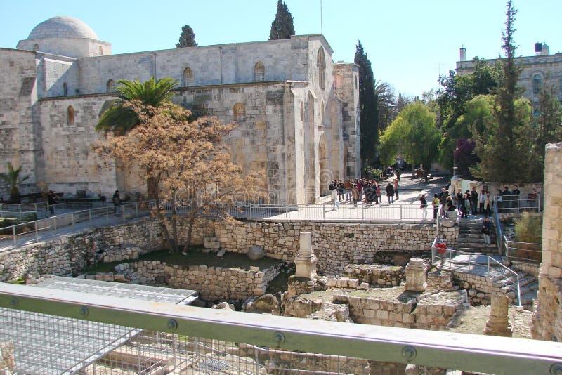 ‹Del †del ‹del †della città di Gerusalemme l'israele Panorama dell'architettura religiosa di vecchia parte della città immagini stock