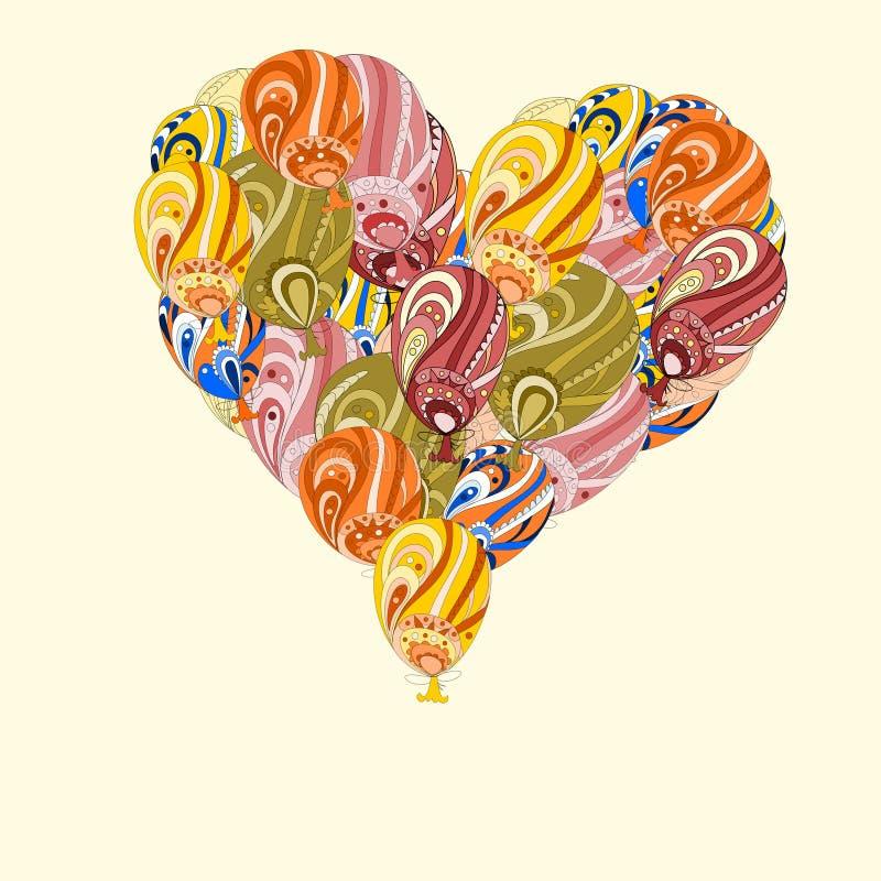 ‹Enorme do †do ‹do †do coração de balões de ar coloridos ilustração do vetor