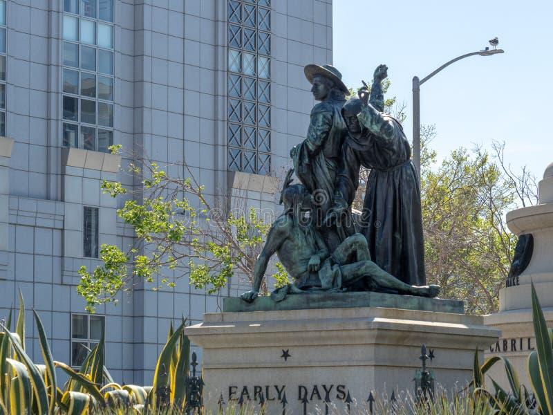 €œEarly statue controversée de  de Days†dans la région de centre municipal de SA images stock