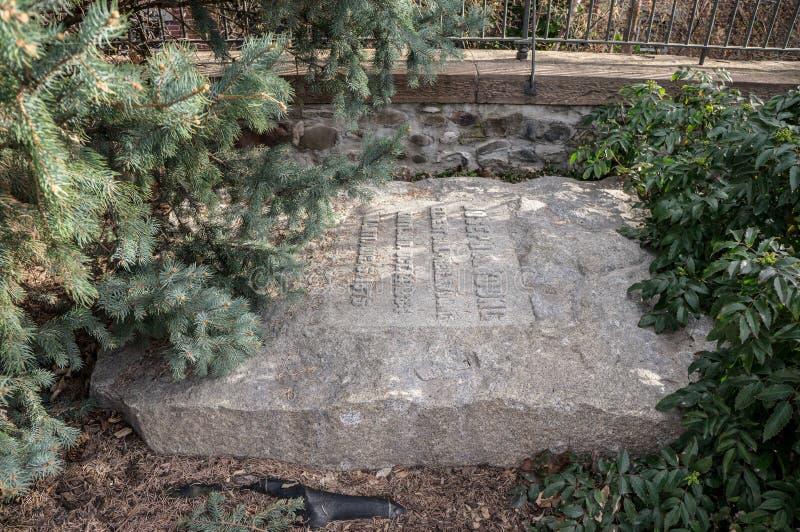 €™s ernstige steen Joseph Angell Youngâ, bij Mormoons Pioniersgedenkteken, royalty-vrije stock fotografie
