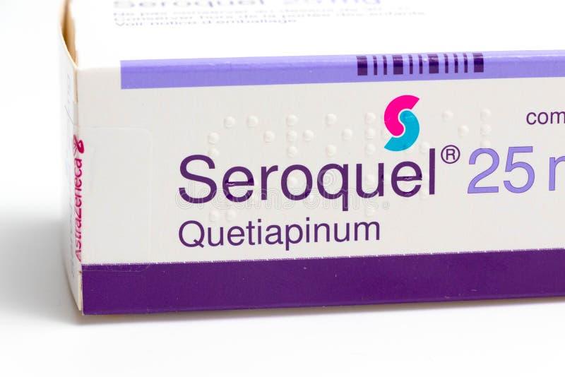 € «03 Svizzera/di Ginevra 03 2019: Droghe di terapia del farmaco antideprimente dell'ansiolitico delle pillole di Seroquel fotografie stock libere da diritti