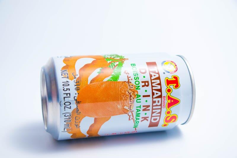 """€ """"03 de Genebra/Suíça 03 2019: O TAS pode do suco do tamarindo do suco de fruta ex?tico de Tail?ndia fotos de stock"""
