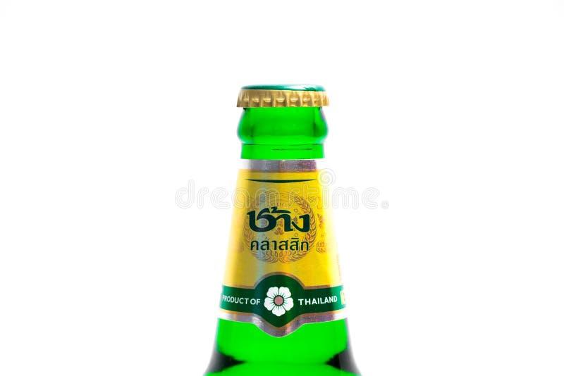 """€ """"03 de Ginebra/de Suiza 03 2019: Logotipo tailandés del elefante de la botella de cerveza de Chang Tailandia imagen de archivo libre de regalías"""