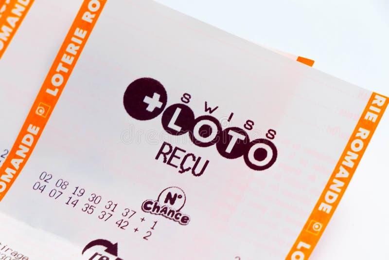 """€ """"03 de Ginebra/de Suiza 03 2019: Mucho triunfo suizo del papel del loto de lotería del recibo perdidoso del boleto fotos de archivo"""