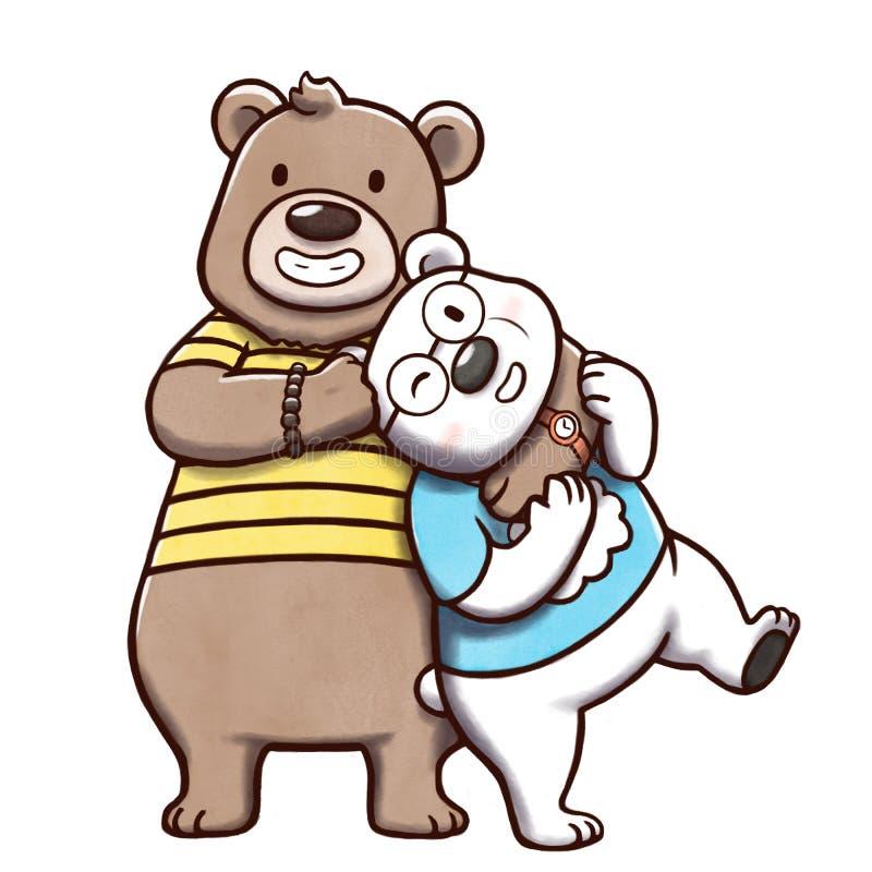 """€ do urso de Brown e do urso polar """"isolado no fundo branco ilustração royalty free"""