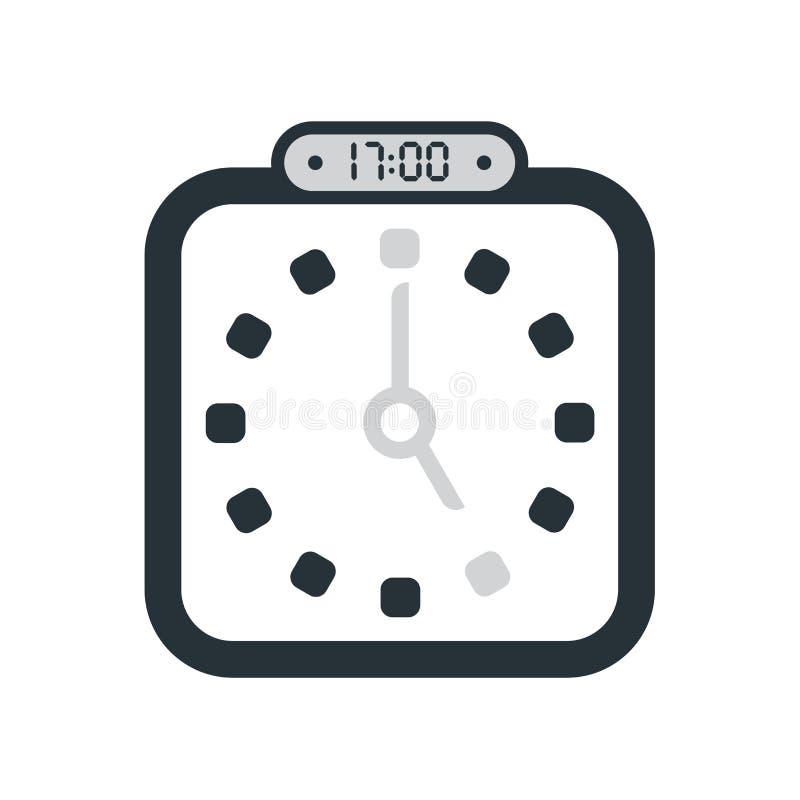 17:00、在白色背景隔绝的下午5点象,时钟和watc 向量例证