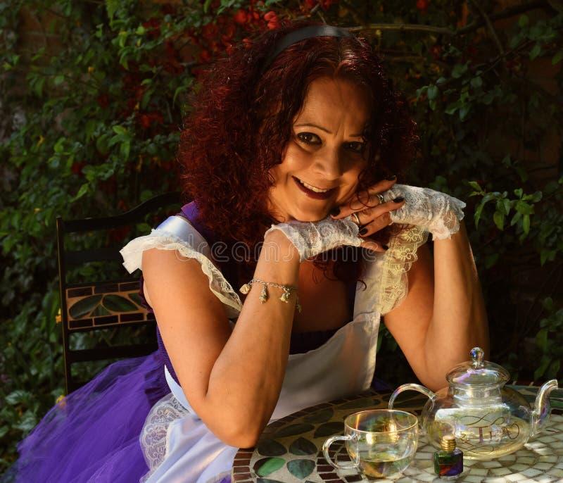 《爱丽丝梦游仙境》配茶壶和杯子 库存照片