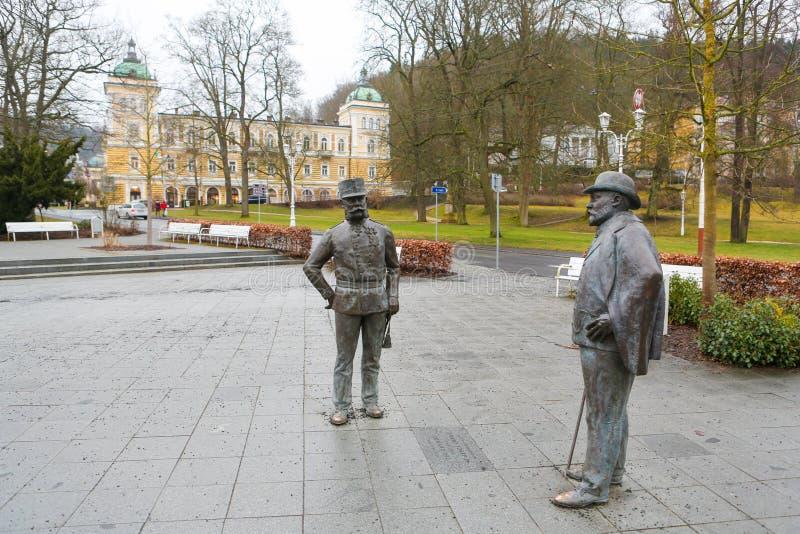 《爱德华七世和弗朗茨·约瑟夫一世在马林巴德的雕像》 免版税图库摄影