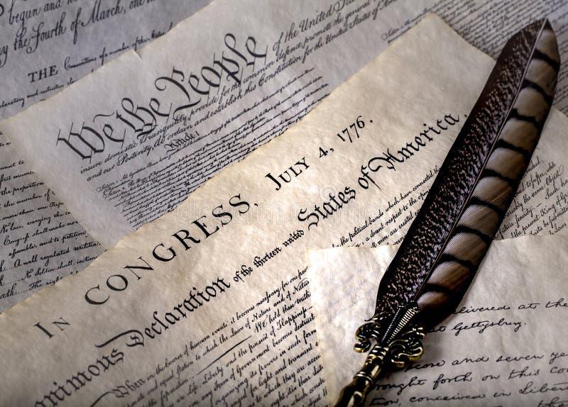 《美国独立宣言》和《权利法案》 库存照片