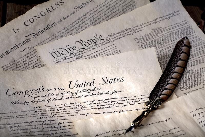 《美国独立宣言和权利法案》 图库摄影