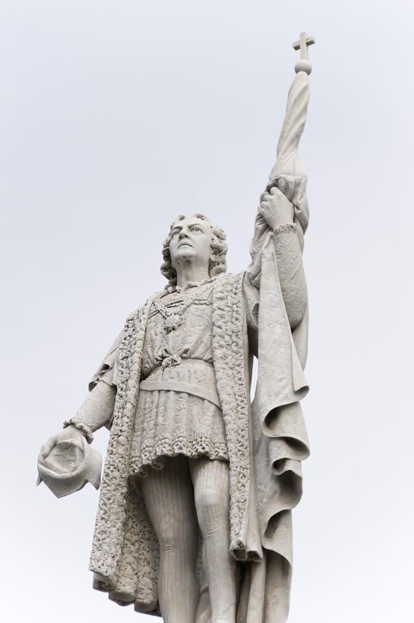 ・克里斯托弗哥伦布雕象 免版税库存图片