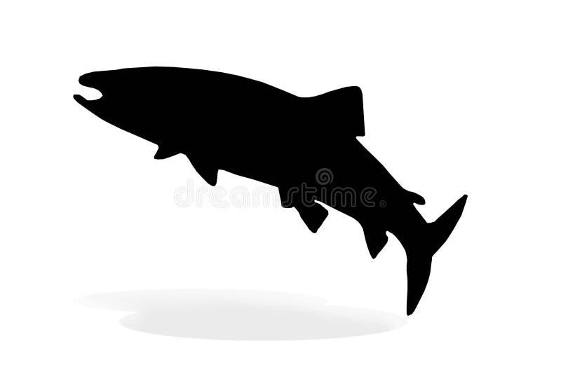 一三文鱼剪影白色 库存例证
