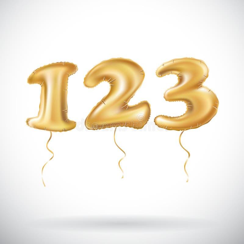 一两三个金黄数字由可膨胀的气球制成在白色背景 123个氦气气球传染媒介 皇族释放例证