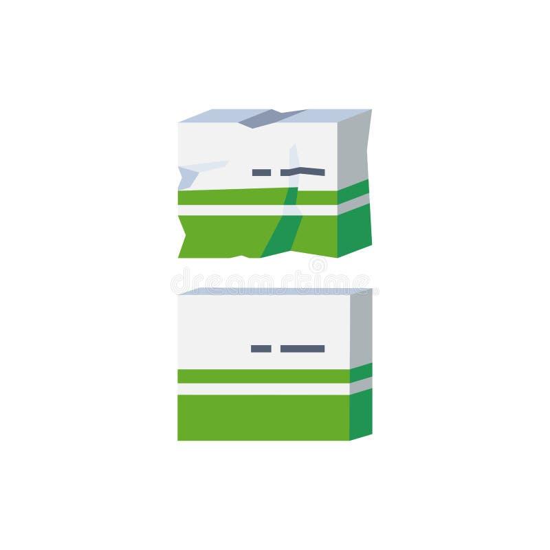 一严重损坏的纸板医学包装的传染媒介例证象 损坏的物品的概念 皇族释放例证