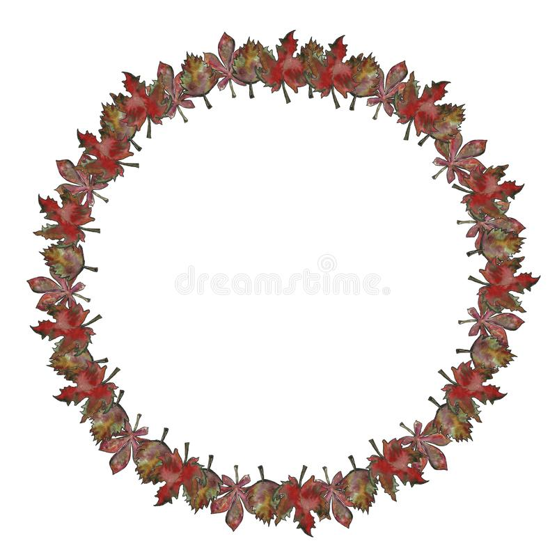 一个一套框架叶子分支的手拉的花卉植物的水彩例证隔绝了 秋天,秋天,叶子秋天 库存例证