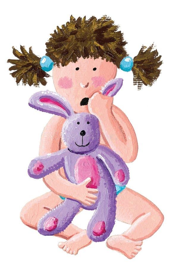 一个一点害怕的女孩拿着一个豪华的兔宝宝 库存例证