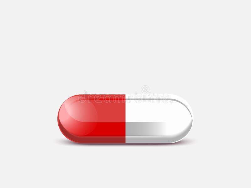 一个不可思议的药片特写镜头,传染媒介例证红色片剂 皇族释放例证