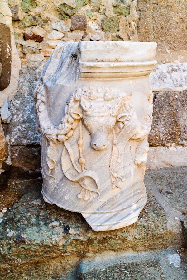 一个专栏的细节在中世纪城堡的在博德鲁姆,土耳其 免版税库存图片