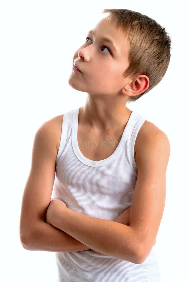 一个严肃的体贴的少年的画象 库存照片