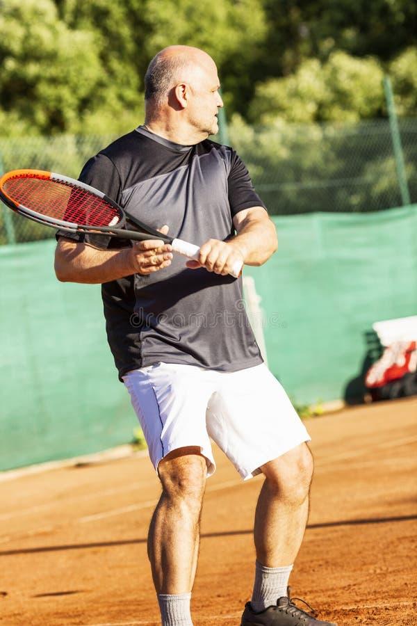 一个中年秃头人情感地打在法院的网球 失去对手 ?? 库存图片