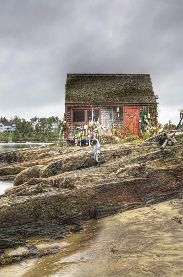 一个五颜六色的渔小屋的一个接近的看法在缅因 免版税库存图片