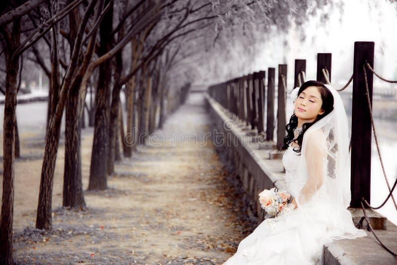 一个亚裔女孩,休息在森林的一个美丽的新娘 免版税库存照片